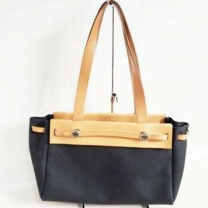Auth HERMES Her Bag Cabas MM Black Brown Toile Off